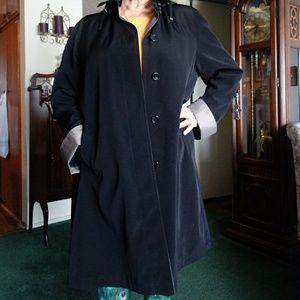 Gallery long black rain trench coat